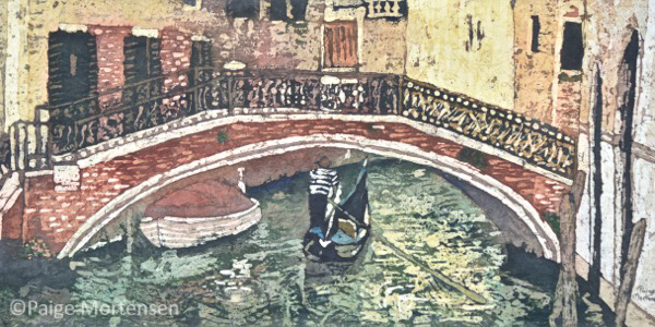 "Under the Bridge Watercolour Batik ©Paige Mortensen 10x20"" $425"