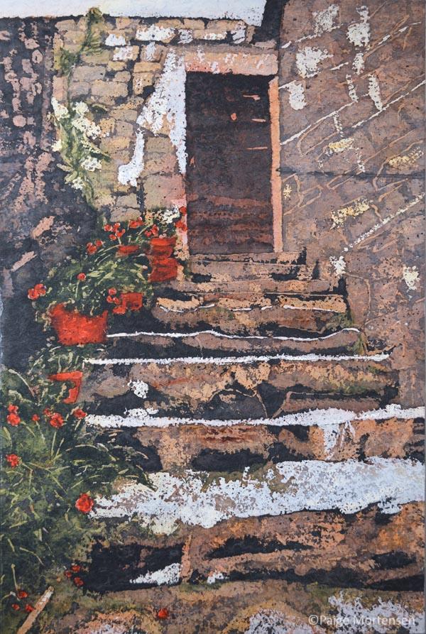 """Stories Inside XV ©Paige Mortensen 24x36"""" Watercolour Batik"""