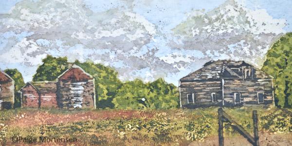 """The Homestead ©Paige Mortensen Watercolour Batik 20 x 10"""" Available at Saskatchewan Craft Council Boutique"""