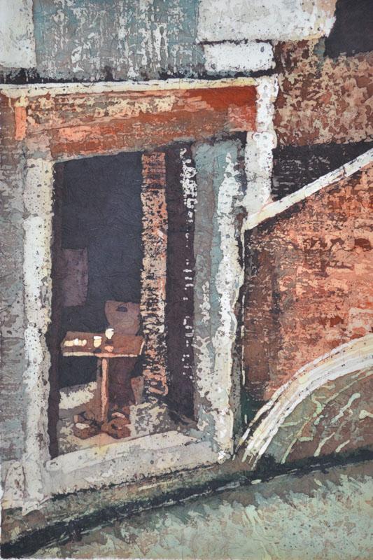 """By the Canal Paige Mortensen Watercolour Batik on Ginwashi paper 12 x 18"""""""