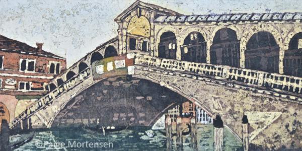 "Rialto Bridge Watercolour Batik @Paige Mortensen 10x20"" $425"