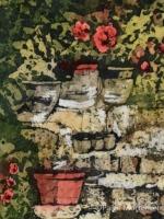 """Containers ©Paige Mortensen Watercolour Batik 5x7\"""" $150"""