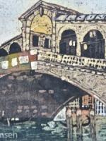 "Rialto Bridge Watercolour Batik @Paige Mortensen 10x20\"" $425"