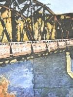 """Traffic Bridge Memories ©Paige Mortensen Watercolour Batik 20x10\"""" $425"""