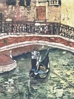 """Under the Bridge Watercolour Batik ©Paige Mortensen 10x20\"""" $425"""
