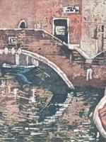 """Walk by the Canal Watercolour Batik ©Paige Mortensen 10x20\"""" $425"""