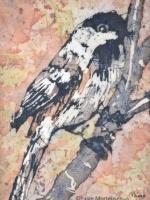 """Hiding in the Bushes 1 ©Paige Mortensen Watercolour Batik 5 x7\"""""""