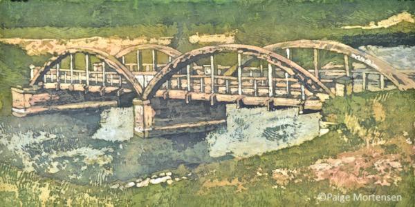 "Crossing ©Paige Mortensen Watercolour Batik 20 x 10"" $425"