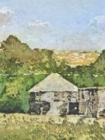 "Nestled in the Trees ©PaigeMortensen - Watercolour Batik 20 x 10"""
